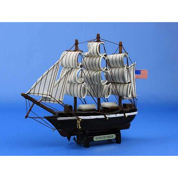 Wooden Star of India Tall Model Ship 7""