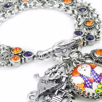 Ghost Charm Bracelet, Halloween Jewelry