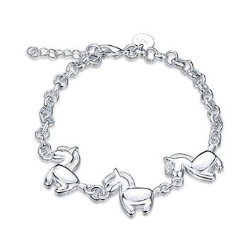 Horses Charm Cuff Bracelet Sterling Silver Plated for Women Girl Jewelry Gift