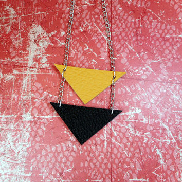 Black and mustard yellow geometric arrow triangle necklace. Unique, one of a kind, funky, boho, tribal, simple, leather, silver tone chain!