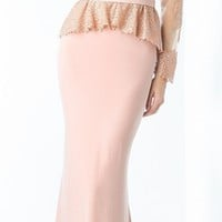 Dusty Rose Long Sleeve Sequined Mother of Bride Dress Train (1 Colors Available)