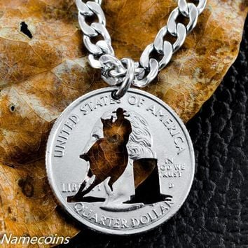 Barrel Racer Necklace, Girls Rodeo, Hand Cut Coin by Namecoins