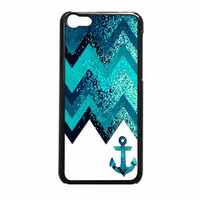 Chevron Navy Anchor Sparkly iPhone 5c Case