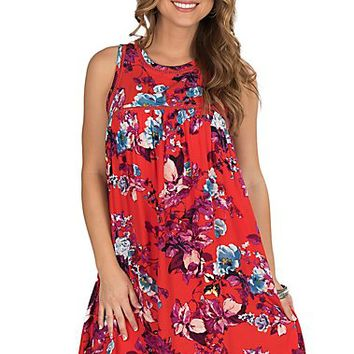 Fantastic Fawn Women's Blood Orange Floral Print Dress