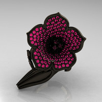 Designer Exclusive 14K Black Gold Pink Sapphire Duchess Trumpet Flower and Vine Ring NN123-14KBGPS