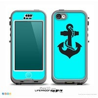 The Turquoise & Black Nautical Anchor Skin for the iPhone 5c nüüd LifeProof Case