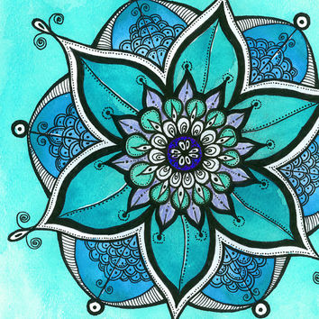 3 Piece Wall Decor - Meditation painting -  Turquoise  & Yellow  Mandalas PRINT - Watercolor art - Christmas gift idea