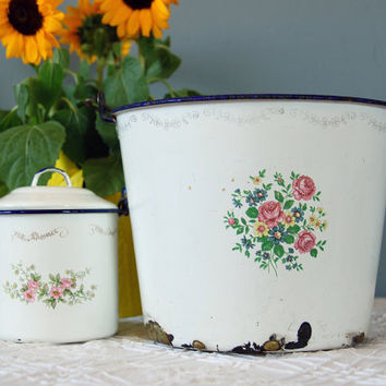 Two Vintage Floral Mexican Enamelware by BoldSparrowVintage