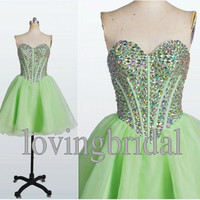 2014 Short Fruit Green Prom Dress  Homecoming dress Formal Party Dress Fashion Wedding Party Dress Prom Dress Bridesmaid Dress