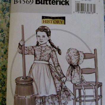 UnCut Butterick Sewing Pattern, 4569!  7-8-10 Girls/Child's/Kids Historical Costumes, Prairie Dresses, Summer