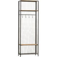 Grid Metal/Wood Locker Coat Rack