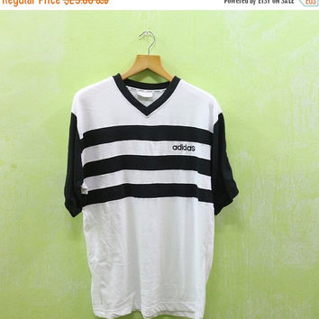 15% SALES Vintage 90s Adidas Big Logo World Cup Streetwear Skate Hip Hop Black and White Tee T Shirt