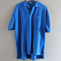 Ralph Lauren Polo Shirt Blue Cotton Knit Classic Polo Button Up Short Sleeve Tee Minimalist Vintage 90s Size XXL #T183A