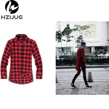 Hip Hop Men Shirt Chris Brown oversized Gold Side Zipper Extended Plaid shirt casual Red Blue Long sleeve tee shirt Tyga XXL