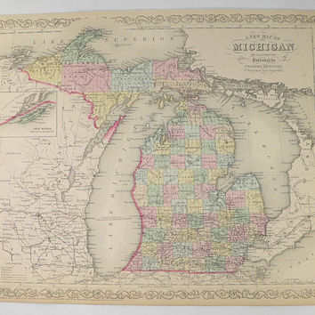 Antique Michigan Map 1858 Mitchell DeSilver MI Map Michigan, Upper Peninsula UP Map, Man Cave Decor, Michigan Gift for Fathers Day Guy Gift