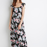 Flutter-Sleeve Floral Maxi Dress