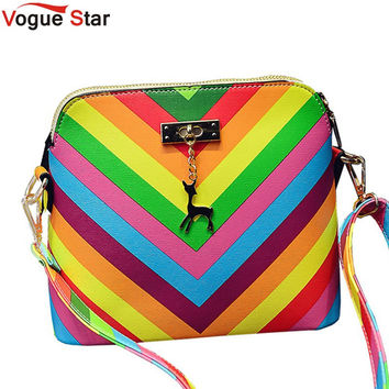 Vogue Star 2016 Rainbow shell bag summer beach Famous brand fashion PU leather women handbag rivet ladies shoulder bag  YK40-987