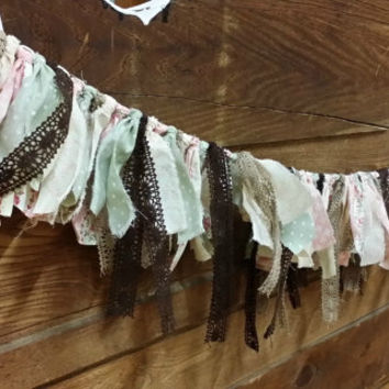Shabby Chic Rag Garland Rustic Wedding Decor Photo Prop Back Drop Garland