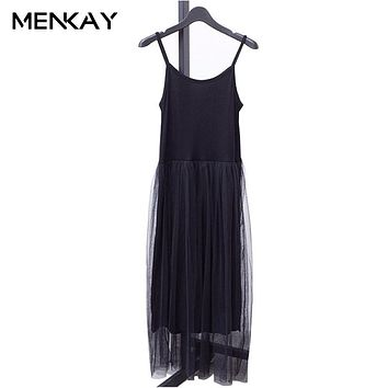 [MENKAY] Basic Solid Color Women Spaghetti Strap Dress Mesh Tulle Draped High Waist Stretch Fabric Female 2018 Summer Casual New