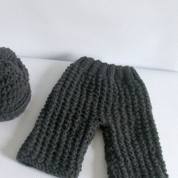 Newborn baby girl or boy hand knitted pants and Elf hat with knot set for Photography Props Dark Grey