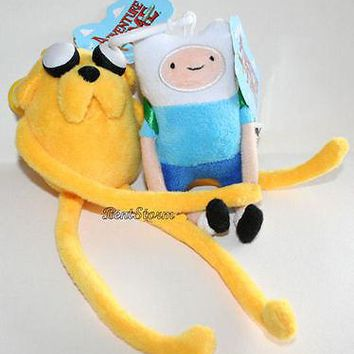"Licensed cool NEW 4"" Adventure Time With Finn and Jake 2X Plush Clip-On Backpack Toy Doll Set"
