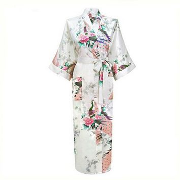 White Chinese Female Sexy V-neck Robes Rayon Silk Sleepwear Long Printed Nightgown Wedding Bride Robe Plus Size S To XXXL NR026