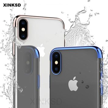 Luxury Plating Soft TPU Phone Cases For iphone X 8 7 6s Plus 5 5s SE case Full Clear Cover For iphone 8 7 6 Plus Protector cape