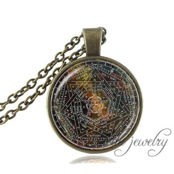 Drop Shipping Sigil of Ameth Pendant Pentagram Necklace Sacred Geometry Jewelry Glass Dome Pentacle Occult Wiccan Necklace