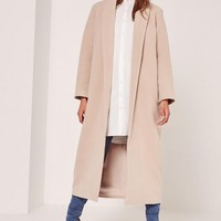Missguided - Petite Nude Shawl Collar Faux Wool Maxi Coat