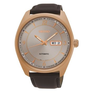 Seiko Men's Recraft Automatic with Brown Leather Strap and Rose Gold Finish