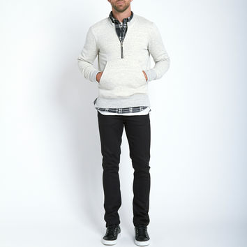Beautiful Fül Half Zip Crew Sweatshirt in Natural