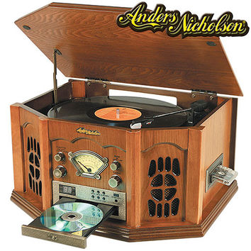 Nostalgic Home Stereo System Record Player,Cassette Player,CD, iPod, MP3 Player Turntable