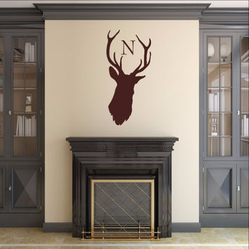 Monogram Deer Head Style B1 Vinyl Wall Decal 22524