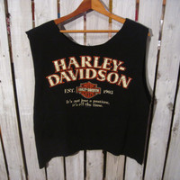 Reconstructed Harley Davidson Cancun Mexico T-Shirt, Boyfriend T-shirt, Very Cute On! Size Medium