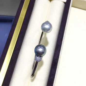 10 mm South Sea Pearl & Tahitian Pearl Adjustable Bracelet 18k Gold - AAAA