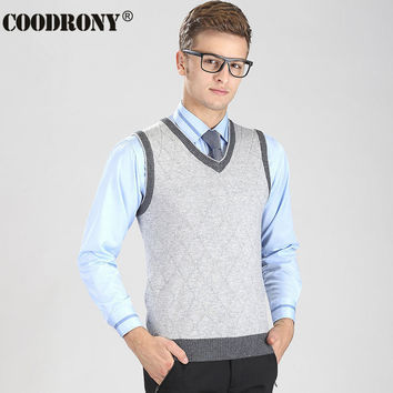 New Arrival High Quality V-Neck Vest Men Argyle Business Coat Sleeveless Cashmere Sweater Men Casual Wool Pullover