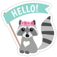 Cute little raccoon with pink flowers and hello banner by MheaDesign