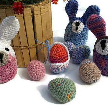 Easter Crochet, Easter Egg Design, Easter Bunnys and Eggs, Easter Basket, Easter, Amigurumi Crochet Bunny, Woodland Decor, Crochet Bunny