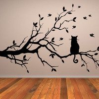 Cat On Tree Wall Art