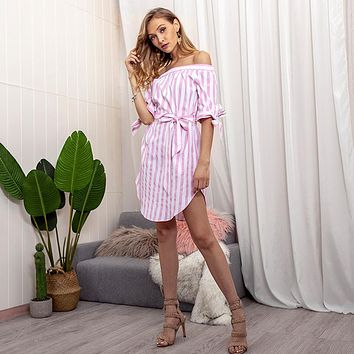 New off-the-shoulder sexy striped casual dress women's clothing