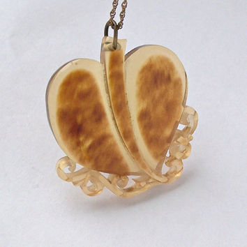 Vintage Carved Lucite Heart Pendant,Carved Celluloid Heart.Tortoise Shell Heart,Carved Plastic,Bakelite Era Carved Pendant,Unusual,Valentine