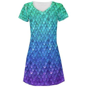 Halloween Mermaid Scales Costume All Over Juniors Beach Cover-Up Dress