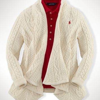 Aran-Knit Cotton Cardigan - Sweaters   Girls 7–16 - RalphLauren.com