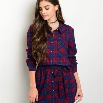 Navy Red Plaid Casual Top