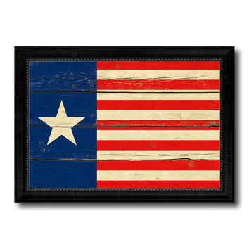 Texas Navy Texan Revolution 1838-1846 Naval Jack Military Flag Vintage Canvas Print with Black Picture Frame Home Decor Wall Art Decoration Gift Ideas