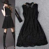 Black Collared Sleeveless Mesh Lace A-line Swing Dress