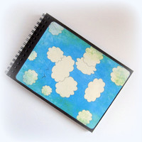 Wire bound Journal - Size 5x7 - 50 lined pages - Blue Sky