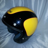 Vintage Retro Gold and Black Arai Helmet - Classics DOT Snell- Made in Japan - Size Medium