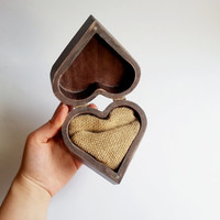 Patinated heart shaped wedding rings box, rustic looking old vintage jute burlap rustic wedding woodland