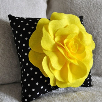 MOTHERS DAY SALE Yellow Black and White Polka Dot Flower Pillow